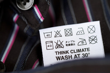 Close-up of a clothing tag. Selective focus.