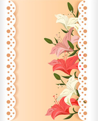 lace card with lilies