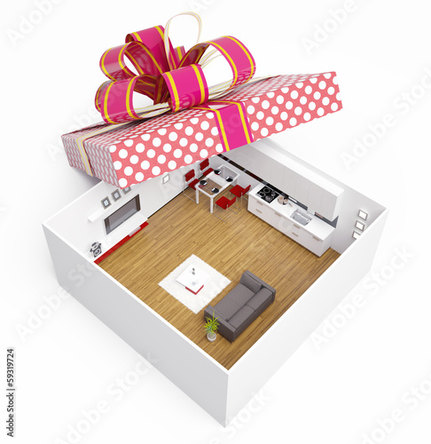 apartment in gift box