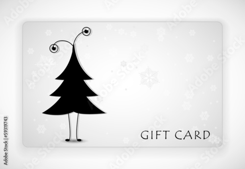 Gift Card with funny fir-tree