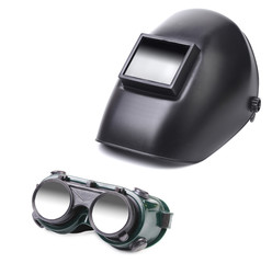 Welding mask and glasses.