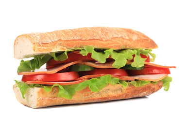 Sandwich tasty with ham and tomato.