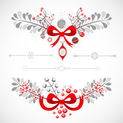 Set of Christmas and New Year decorative elements