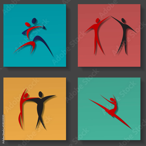Dance icons set