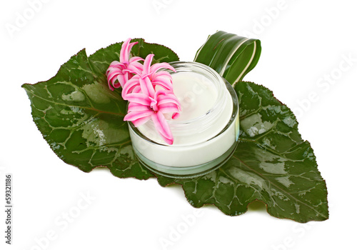 face cream with green leaves