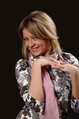 Blondy girl model smile with crossed fingers