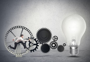 Businessman powering an idea