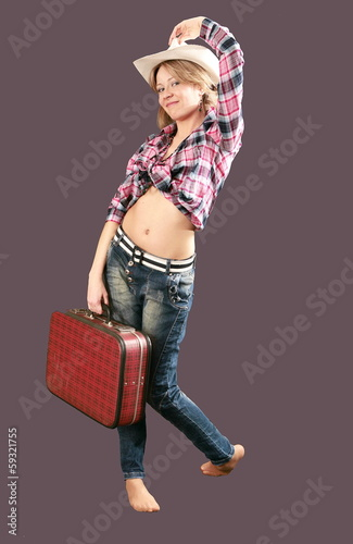 Beatiful cowboy young girl model with white cap and red bag