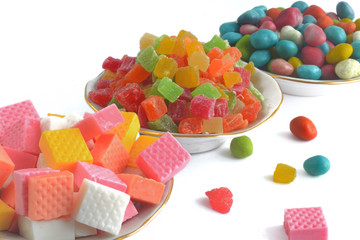 different sweets isolated on white background