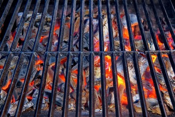 Glowing coal in BBQ Grill