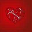осколки сердца на красном фоне