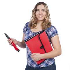 Junge Frau mit Bewerbungsmappe - woman application