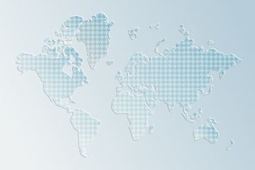 Subtle 3d textured paper world map illustration in blue, vector