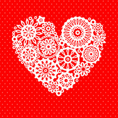 White crochet lace flowers heart on red greeting card background