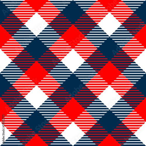 Checkered gingham fabric seamless pattern in blue white red