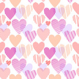 Colorful red striped hearts on white seamless pattern