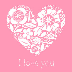 Flower heart on pink romantic greeting card, vector background
