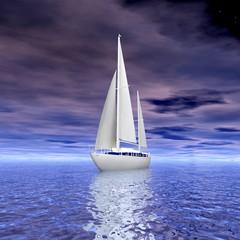 Sailing luxury yacht on beautiful seascape
