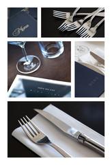 Menus, couverts et tables dressées au restaurant