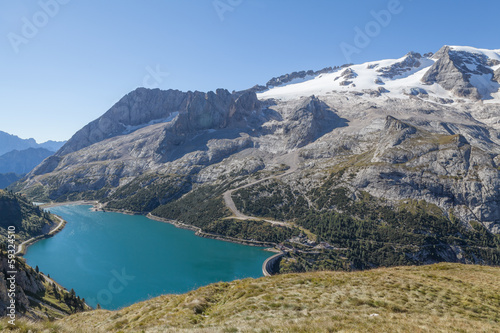 The highest peak of Dolomites Marmolada and Dam Lago di Fedaia