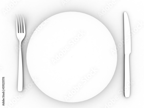 Empty plate, knife and fork, cutlery in 3-d visualization