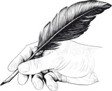 drawing of hand with a feather pen in style of an engraving