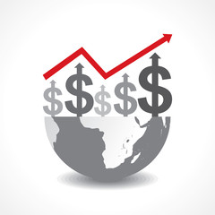 Business graph of dollar symbols on earth - vector illustration