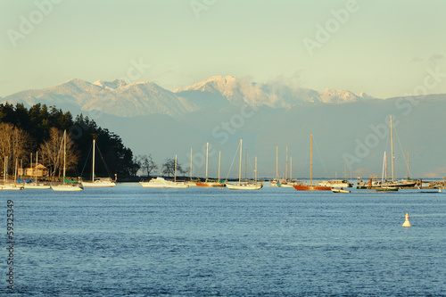 Nanaimo Harbor Anchorage and Coast Mountains
