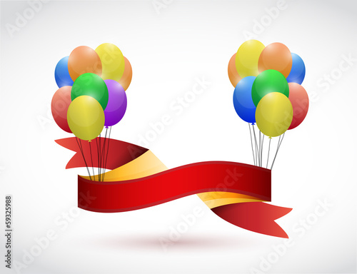 black ribbon and balloons illustration design