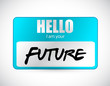 hello im your future name tag illustration design