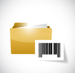 folder and upc barcode illustration design