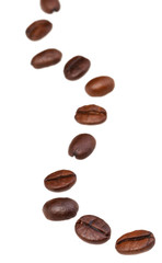 winding line from roasted coffee beans