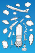 Rocket clouds and airplane illustrations