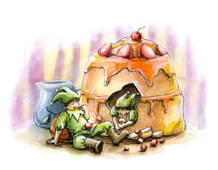 Elf fairytale holiday party cake watercolor illustration