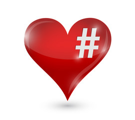 heart and hashtag illustration design