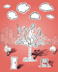 Money tree and business illustrations