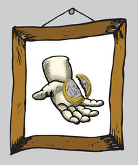 Hand holding broken euro coin in picture frame