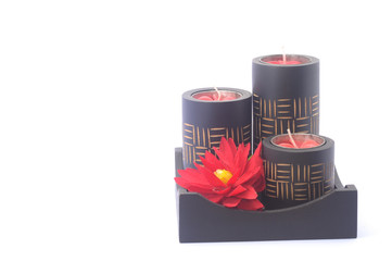 Black spa Candle with red flower in black wood box