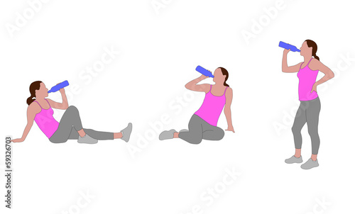 illustration of woman drinking water after training