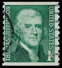 USA - CIRCA 1965: A stamp printed in USA shows President Thomas