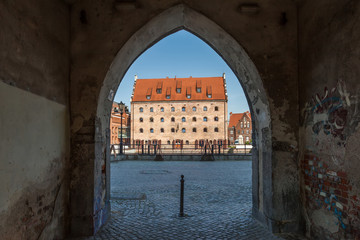 Medieval gate in the old town in Gdansk