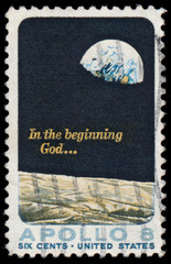 USA - CIRCA 1969: a stamp printed in the USA shows Moon Surface