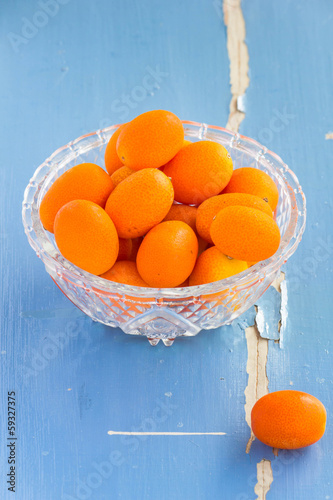 Sweet kumquat citrus fruits, selective focus