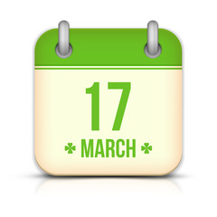 Saint Patrick's day calendar icon with reflection