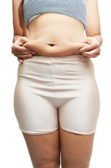 Woman's measuring belly fat