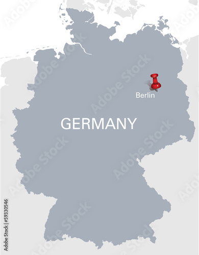 grey map of Germany with red push pin