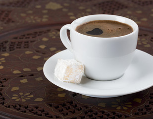 Strong turkish coffee and turkish delight