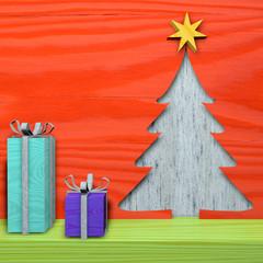 Biglietto di Natale auguri, feste, legno, abete