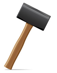 tool hammer with wooden handle vector illustration