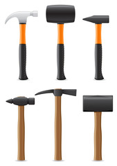 tool hammer with wooden and plastic handle vector illustration